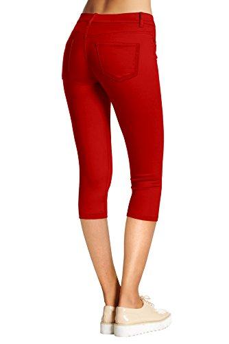Hybrid Company Denim Per Capri Jeans rosso Donne Elasticizzato amp; Capri qwrnIFx5w