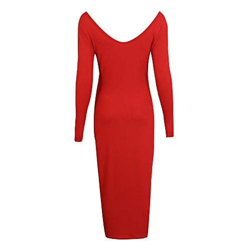 Robes Longues Occasionnels Rouge Jupe Dames Mince Col Crayon V Higlles TricotéeFemmes En Pull saint robe Maxi Manches Valentin Profond zVqMSUp