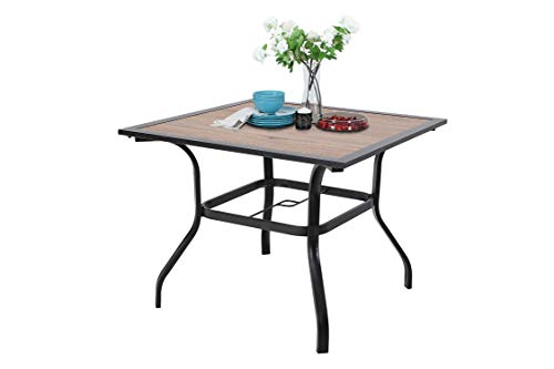 Outdoor Dining Table with Umbrella Hole 37″ x 37″ Metal Table for Lawn Patio Pool Sturdy Metal Steel Frame with Wood-Look Table top