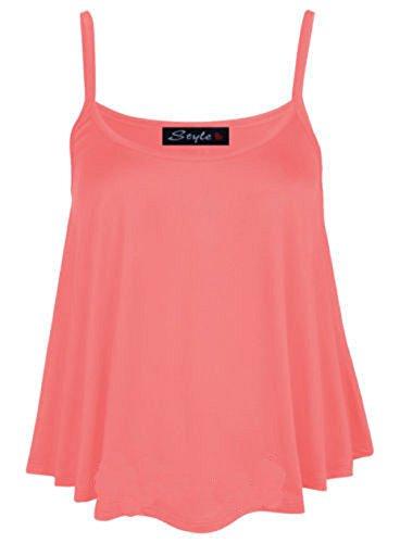 admirefashion - Camiseta sin mangas - para mujer Coral