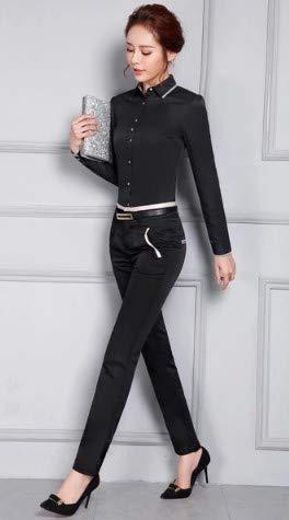 Abbottonata Camicie Lunghe Da Camicia Slim Giacca Ysfu Camicetta Ufficio Abbottonatura Bluse Donna E A Cotone In Maniche adqIwAP