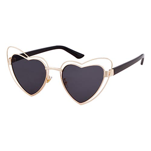 Price comparison product image Clout Goggle Heart Sunglasses Vintage Cat Eye Mod Style Retro Kurt Cobain Glasses (Gold Frame Grey Lens)