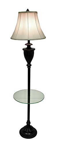 Metal & Resin Table Lamps Grecian Bronze Finish Fluted Urn Floor Lamp With Glass Shelf And Fabric Shade 10 X 64.5 X 10 Inches (Resin Fluted)