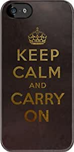 SUUER Keep Calm and Carry One Grunge Dark Brown Background Custom Hard CASE for iPhone 5 5s Durable Case Cover