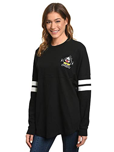 Disney Jersey Women's Mickey Mouse Long Sleeve Crew Neck (Black, Small) -
