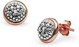 Sterling Silver Diamond Accent 8mm Round Button Stud Earrings, IJ-I3