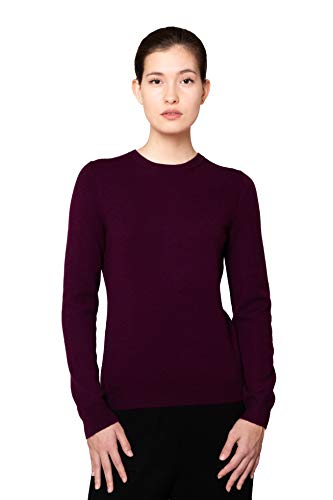 Goyo Cashmere Women's 100% Pure Cashmere Sweater – Long Sleeve Crewneck Pullover (Purple, XL)
