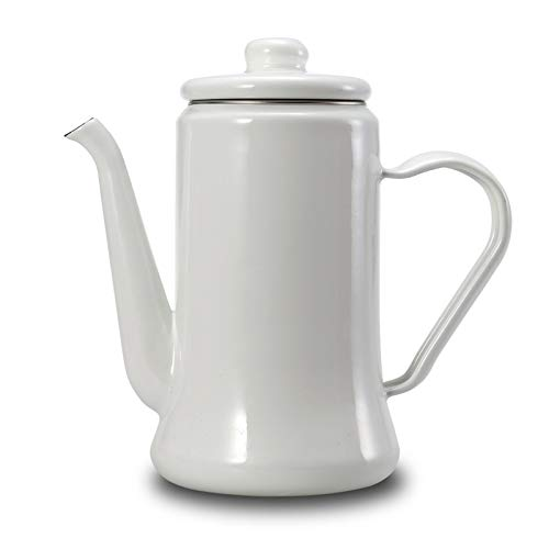 Cooker Gas White (Fragil Tox Coffee Percolator 1.1L Enamel Coffee Pot Hand Tea Kettle Induction Cooker Gas Stove Universal White)