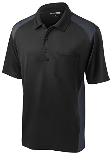 Cornerstone Men's Moisture Wicking Pocket Polo Shirt_Black/Charcoal_X-Large