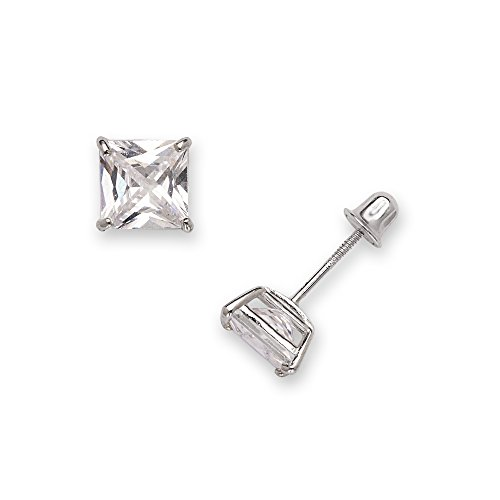 14k White Gold 6mm Square Cubic Zirconia Screw-Back (Jewelryweb Sterling Silver Square)