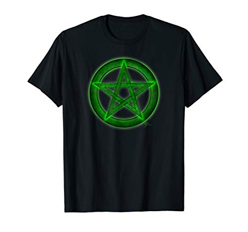 Wicca pentacle pagan symbol green T shirt by Mortal Designs ()