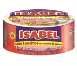Isabel Lomitos de Atun , (Pack of 48), ( Solid Light Tuna) in Veg Oil Canned 5,5 oz ( 150g) by Grupo Conservas Garavilla SA