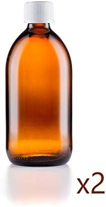 Glass Amber Botellas de Cristal ámbar de 100 ml pretapadas con Cierre Resistente a niños de 28 mm (2 Botellas)