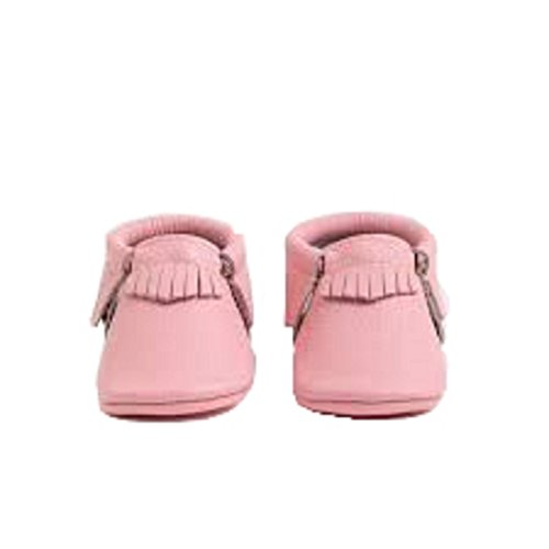 Freshly Picked Soft Sole Leather Baby Moccasins - Bubblegum Licorice Size 1 by Freshly Picked