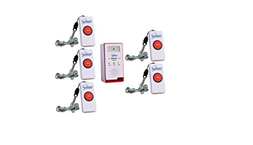 Secure SWCB-1 Wireless Remote Nurse Alert System - 1 Caregiver Pager & 5 Patient Call Buttons - 500+ Ft Range … (5 Transmitter Set) -  Personal Safety Corporation, SWCB-1_SET-5