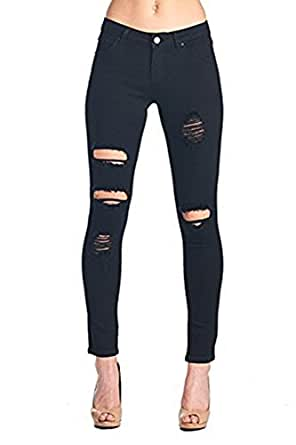 Women's Hight Waisted Butt Lift Stretch Ripped Skinny Jeans Distressed Denim Pants (US 2, Black 15)