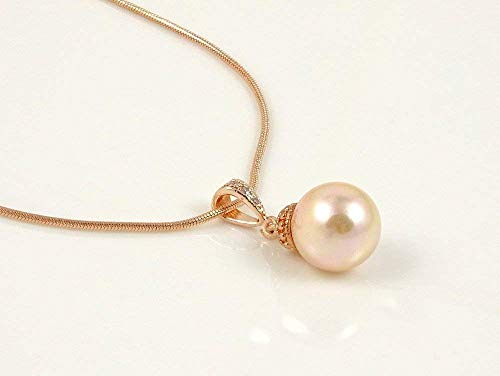 14k Rose Gold Plated Cubic Zirconia Pendant Necklace with Blush Champagne Pearls