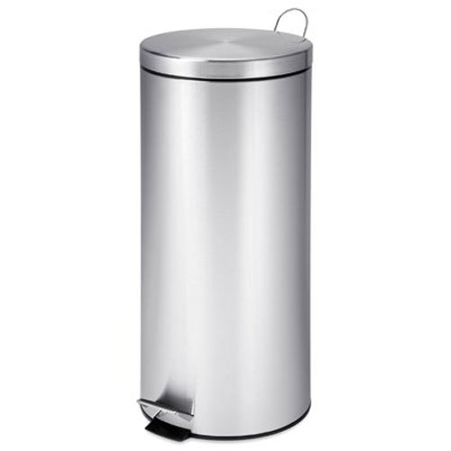 Honey-Can-Do TRS-02110 Round Stainless Steel Step Trash Can with Liner, Chrome, 30-Liter Per 8-Gallon