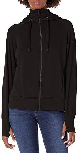 Danskin womens Double Collar Full Zip Hooded Jacket