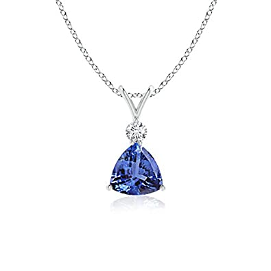Angara Round Tanzanite Solitaire Pendant with Diamond Bale in Platinum