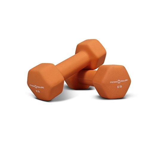 Fitness Republic Neoprene Dumbbell 5 Pairs Set (2lb,3lb,4lb,5lb & 6lb)