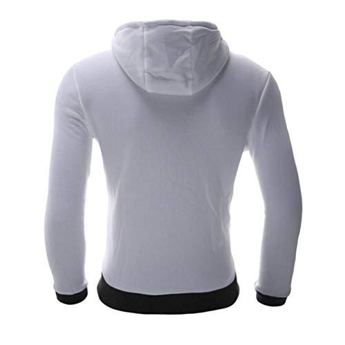 Sólido WWricotta para Hombre Capucha Oblicua Blanco Abrigo Manga Chándal de con Sudaderas Chaqueta Color Larga Outwear Capa M~6XL Cremallera xrp0gqrwBS