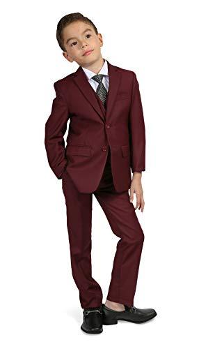 Ferrecci Boys Jax Jr Modern Fit Notch Lapel 5 Piece Suit Set Burgundy Size ()