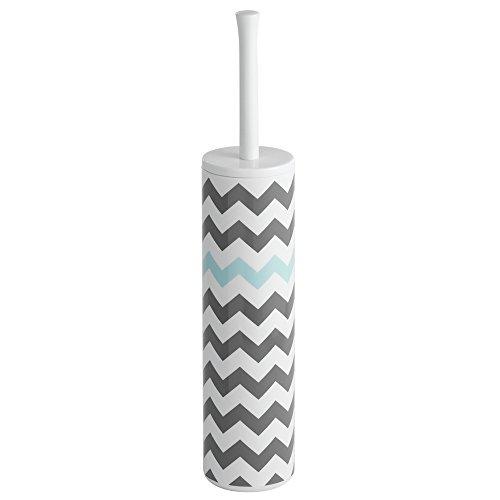InterDesign Una Slim Toilet Bowl Brush and Holder - Bathroom Cleaning Storage, Gray/Mint Chevron