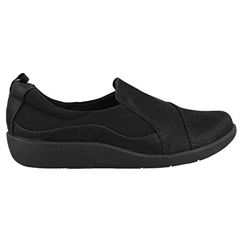 Clarks Women's CloudSteppers Sillian Paz Slip-On Loafer, Black Synthetic Nubuck, 8.5 W US