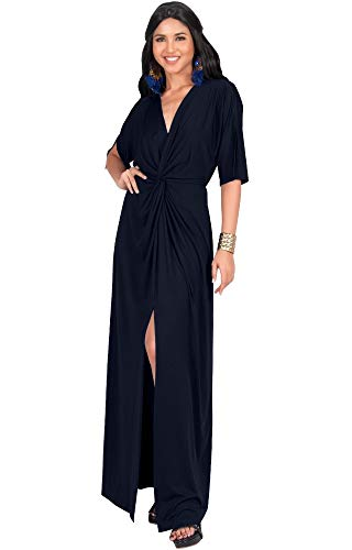 KOH KOH Plus Size Womens Long Sexy V-Neck Short Sleeve Cocktail Evening Bridesmaid Wedding Party Slimming Casual Summer Maxi Dress Dresses Gown Gowns, Navy Blue XL 14-16
