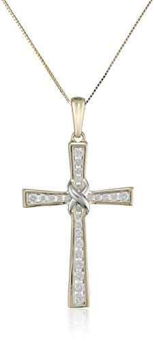 10k Yellow Gold Diamond Cross Pendant Necklace (1/2 cttw, I-J Color, I2-I3 Clarity), 18'' by Amazon Collection