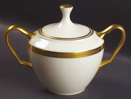 Lenox Tuxedo (Gold Backstamp) Sugar Bowl & Lid, Fine China -