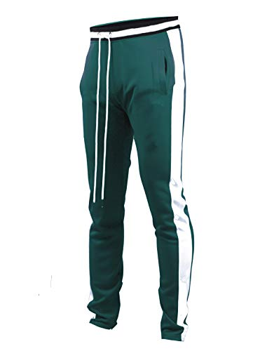 SCREENSHOTBRAND-S41700 Mens Hip Hop Premium Slim Fit Track Pants - Athletic Jogger Bottom with Side Taping-GR/WH-Medium