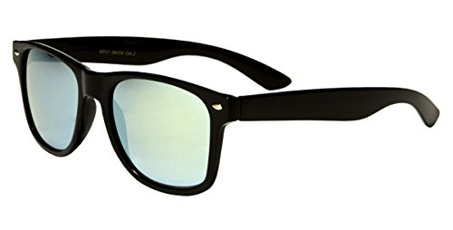 Mirozi Men's Wayferer 48MM Mirrored Lens Sunglasses (Black, Light Blue Mirrored)