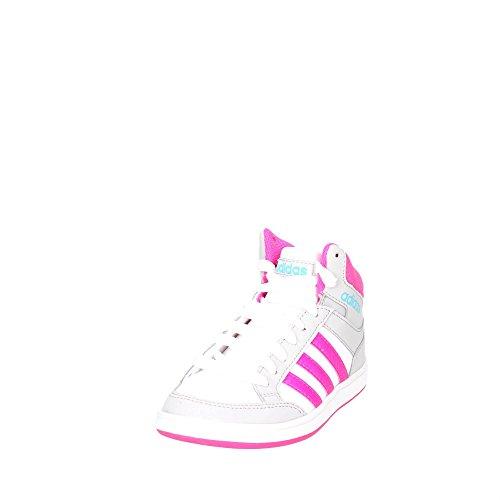 adidas Hoops Mid K CG5767 Mädchen Schnürstiefelette Kaltfutter Weiß Pink
