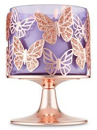 Bath and Body Works Rose Gold Glitter Butterflies 3 Wick Candle Holder. (Sleeve Candle Holder)