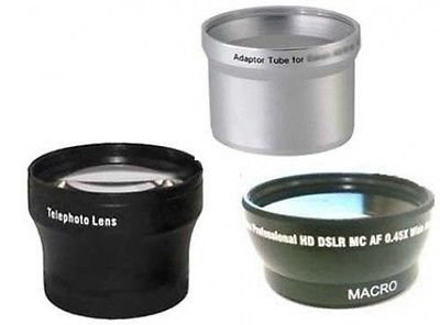 Wide + Tele Lens + Tube Adapter bundle for Canon Powershot A590 IS, Canon A570 ()