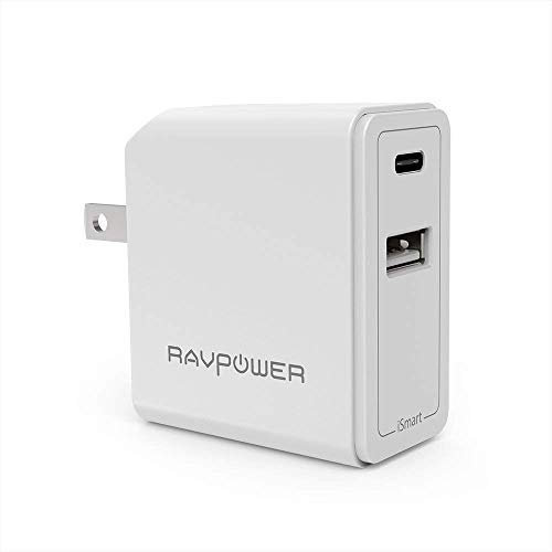 USB C Wall Charger RAVPower 24W Dual Type C Travel USB Charger 5V/3A Fast iSmart Charger Compatible Nintendo Switch, Google Pixel XL, Galaxy S9 S8 Note 8 and iPhone Xs XS Max XR X 8 7 Plus (White)
