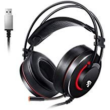 USB PC Headset Gaming Headset Headphone with Mic Over Ear Headband Stereo Surround Sound for Computer Laptop Tablet iMac iPad and etc