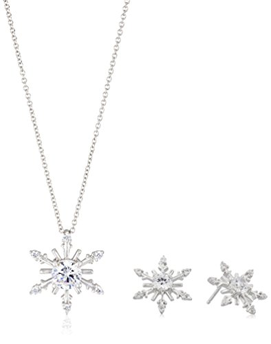 Sterling Silver Cubic Zirconia Snowflake Pendant Necklace...
