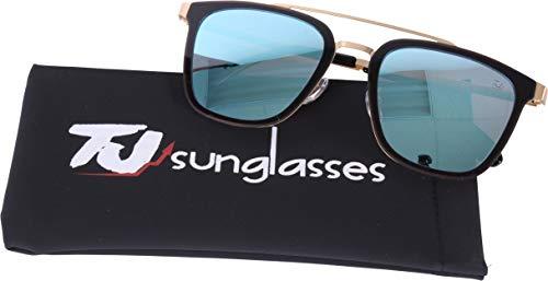 Price comparison product image TJsunglasses Fashion Square Polarized Sunglasses,  Browline Style Designer for Women & Men,  100% UV protection.