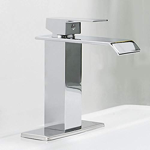 Homevacious Bathroom Faucet Commercial Waterfall Single Handle Chrome Modern Lavatory Sink Vanity Faucets One Hole Lever Extra Large Rectangular Spout Basin Deck Mount Mixer Tap Supply Hose Lead-Free ()