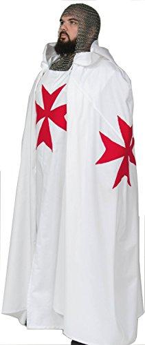 Knight Medieval Templar Knight Crusader Tunic & Cape Maltese Cross (XXLarge) Handmade In Stock (Mens Templar Knight Costume)