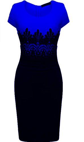 VaniaDress Women's Summer Short Sleeve Pencil Cocktail Sheath Dresses V008LF Royal Blue L from VaniaDress