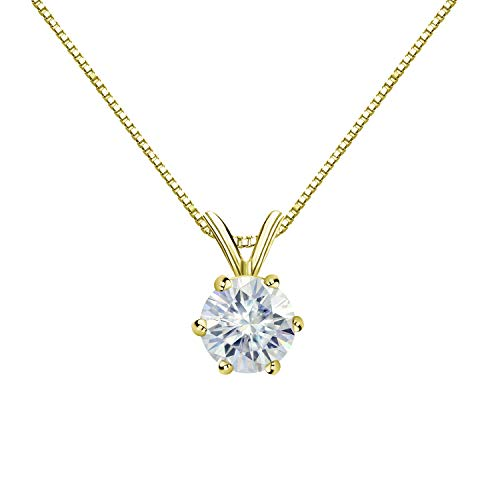 Diamond Wish 14K Yellow Gold Round Moissanite Solitaire Pendant 9.5mm 3 TGW in 6-Prong (O.White) 18