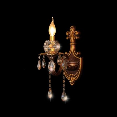 hua Antique Brass Single Light Wall Sconce Accented with Clear Lead ()