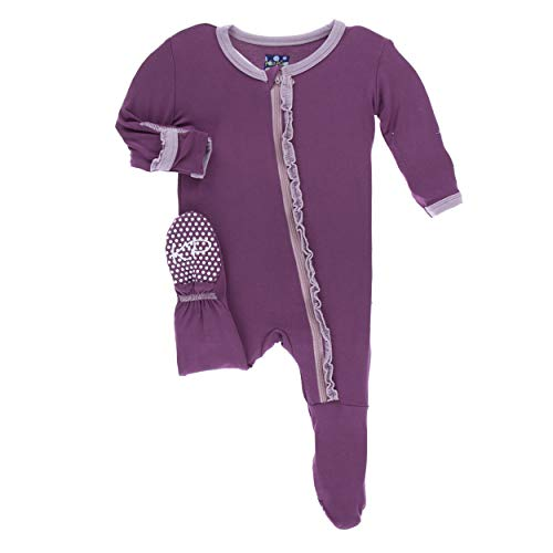 - Kickee Pants Little Girls Solid Muffin Ruffle Footie with Zipper - Amethyst with Sweet Pea, 3-6 Months