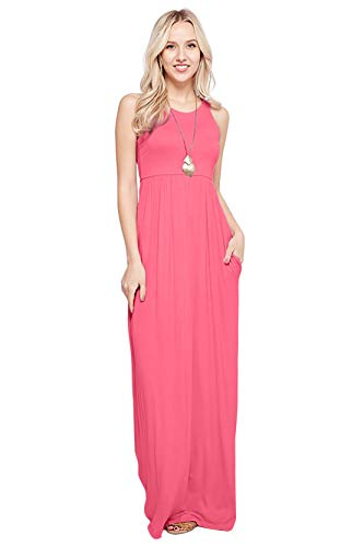 Maxi Dresses for Women Solid Lightweight Long Racerback Sleeveless W/Pocket -Coral (1X) (Coral Maxi Dresses For Women)