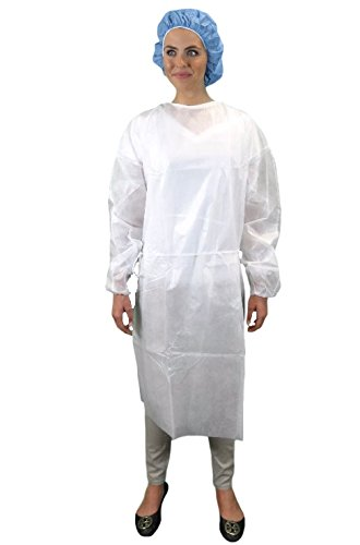 Keystone ISO-NW-White Polypropylene Isolation Gown, Rear Entry, Extra Long Ties, White (Pack of 50)