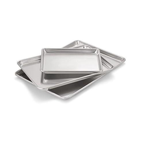 Artisan Professional Classic Aluminum Baking Sheet Pan Set with Quarter, Half, and 2/3-Size Sheets
